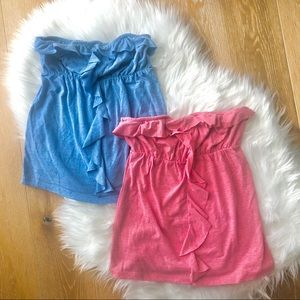 3/$30 BLUENOTES strapless empire tops blue + pink